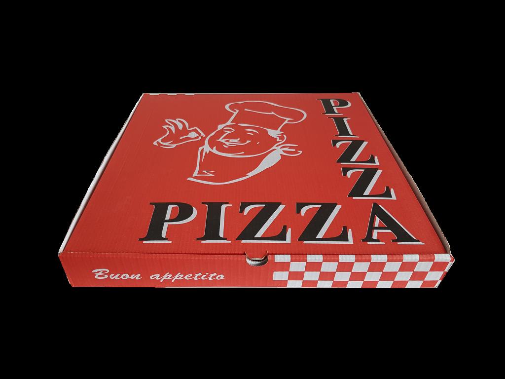 kırmızı baskılı pizza kutusu